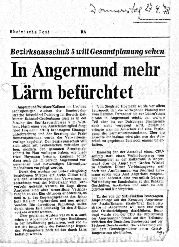 zeitungsartikel-histroisches-laerm-angermund-1978-bezirksvertretung-zug-zuege-schallschutz-laermschutz-rheinischepost-bezirksausschuss-hoymann-gleisausbau-deutschebahn-db-vertreosten-laermschutz-initaitive-kommunalpolitik