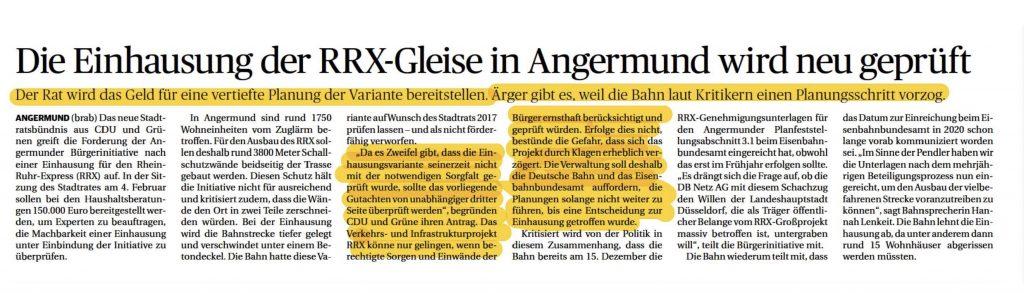 Zeitungsartikel zur Einhausung und RRX in Angermund